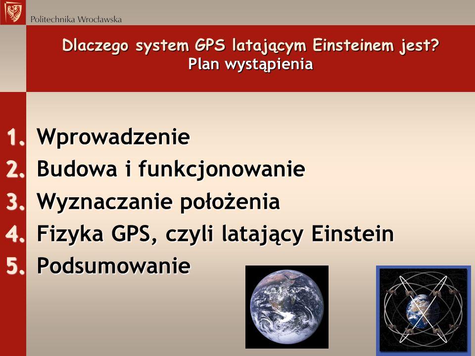 Dlaczego system GPS latającym Einsteinem jest? Plan wystąpienia 1.Wprowadzenie 2.Budowa i funkcjonowanie 3.Wyznaczanie położenia 4.Fizyka GPS, czyli l
