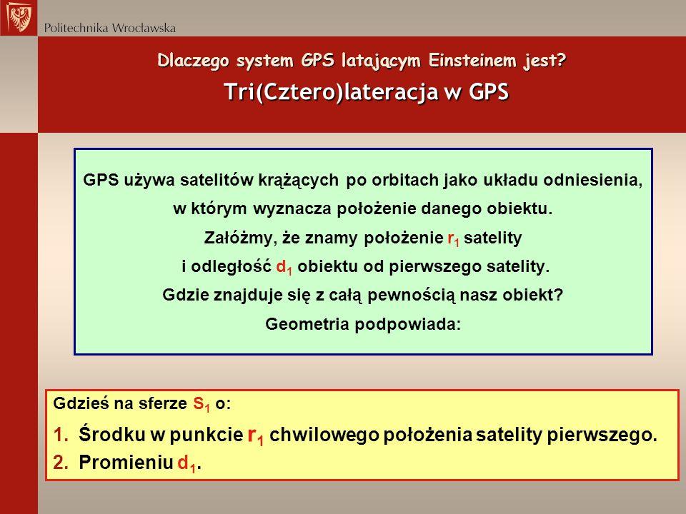Dlaczego system GPS latającym Einsteinem jest? Tri(Cztero)lateracja w GPS GPS używa satelitów krążących po orbitach jako układu odniesienia, w którym
