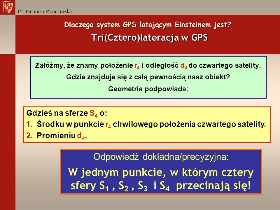 Dlaczego system GPS latającym Einsteinem jest? Tri(Cztero)lateracja w GPS Załóżmy, że znamy położenie r 4 i odległość d 4 do czwartego satelity. Gdzie