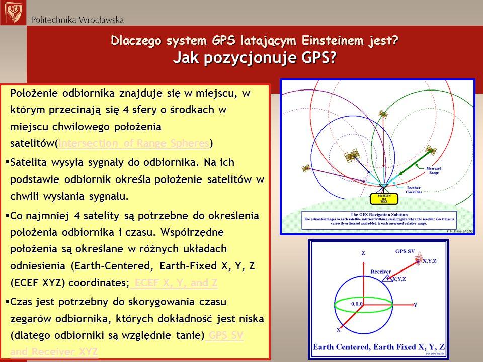 Dlaczego system GPS latającym Einsteinem jest? Jak pozycjonuje GPS? Położenie odbiornika znajduje się w miejscu, w którym przecinają się 4 sfery o śro