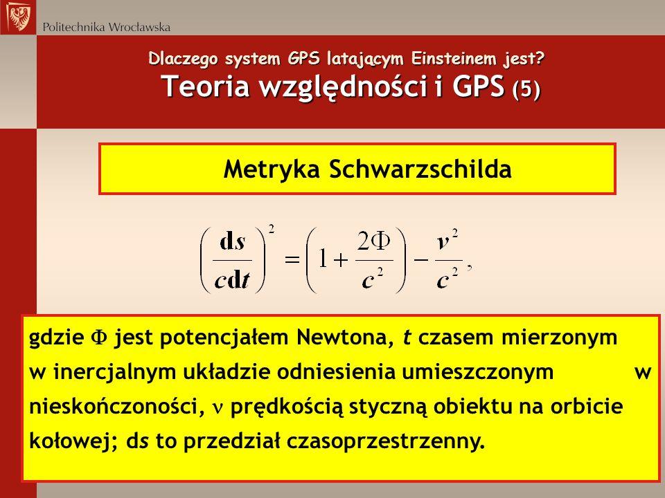 Dlaczego system GPS latającym Einsteinem jest? Teoria względności i GPS (5) Metryka Schwarzschilda gdzie jest potencjałem Newtona, t czasem mierzonym