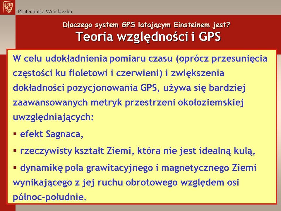 Dlaczego system GPS latającym Einsteinem jest? Teoria względności i GPS W celu udokładnienia pomiaru czasu (oprócz przesunięcia częstości ku fioletowi