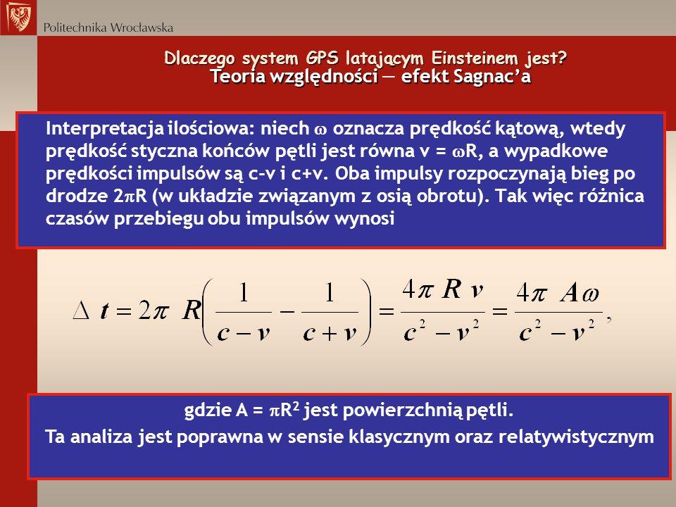 Interpretacja ilościowa: niech oznacza prędkość kątową, wtedy prędkość styczna końców pętli jest równa v = R, a wypadkowe prędkości impulsów są c-v i