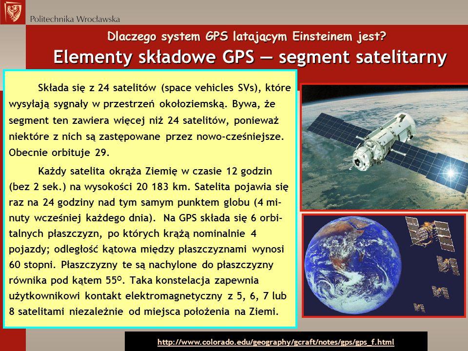 Dlaczego system GPS latającym Einsteinem jest? Elementy składowe GPS segment satelitarny Składa się z 24 satelitów (space vehicles SVs), które wysyłaj