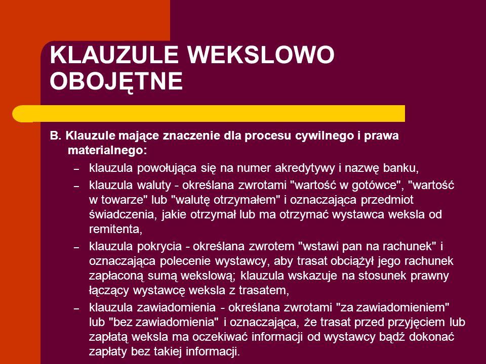 KLAUZULE WEKSLOWO OBOJĘTNE B. Klauzule mające znaczenie dla procesu cywilnego i prawa materialnego: – klauzula powołująca się na numer akredytywy i na