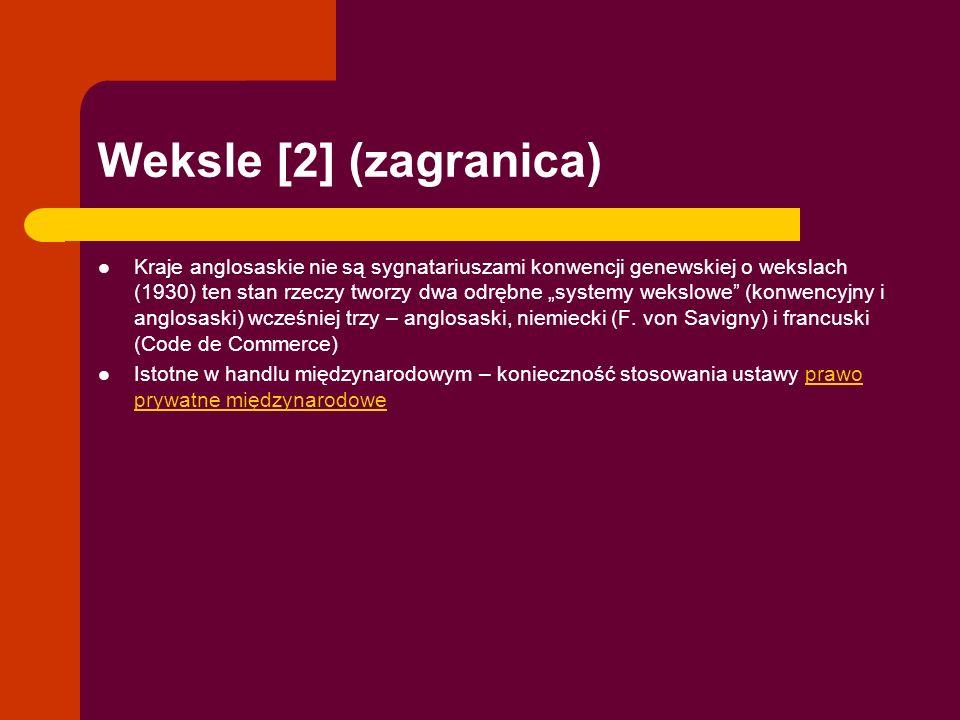 Weksle [2] (zagranica) Kraje anglosaskie nie są sygnatariuszami konwencji genewskiej o wekslach (1930) ten stan rzeczy tworzy dwa odrębne systemy weks
