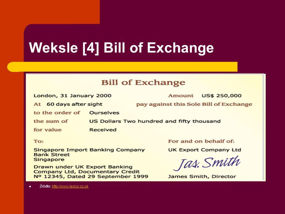 Weksle [4] Bill of Exchange Źródło: http://www.lexico.co.ukhttp://www.lexico.co.uk