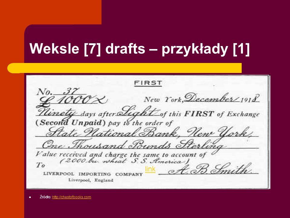 Weksle [7] drafts – przykłady [1] link Źródło: http://chestofbooks.comhttp://chestofbooks.com