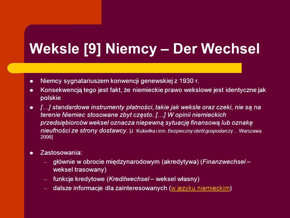 Weksle [9] Niemcy – Der Wechsel Niemcy sygnatariuszem konwencji genewskiej z 1930 r. Konsekwencją tego jest fakt, że niemieckie prawo wekslowe jest id