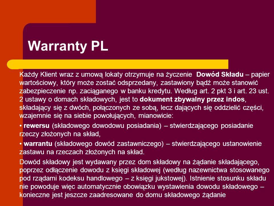 Warranty PL Każdy Klient wraz z umową lokaty otrzymuje na życzenie Dowód Składu – papier wartościowy, który może zostać odsprzedany, zastawiony bądź m