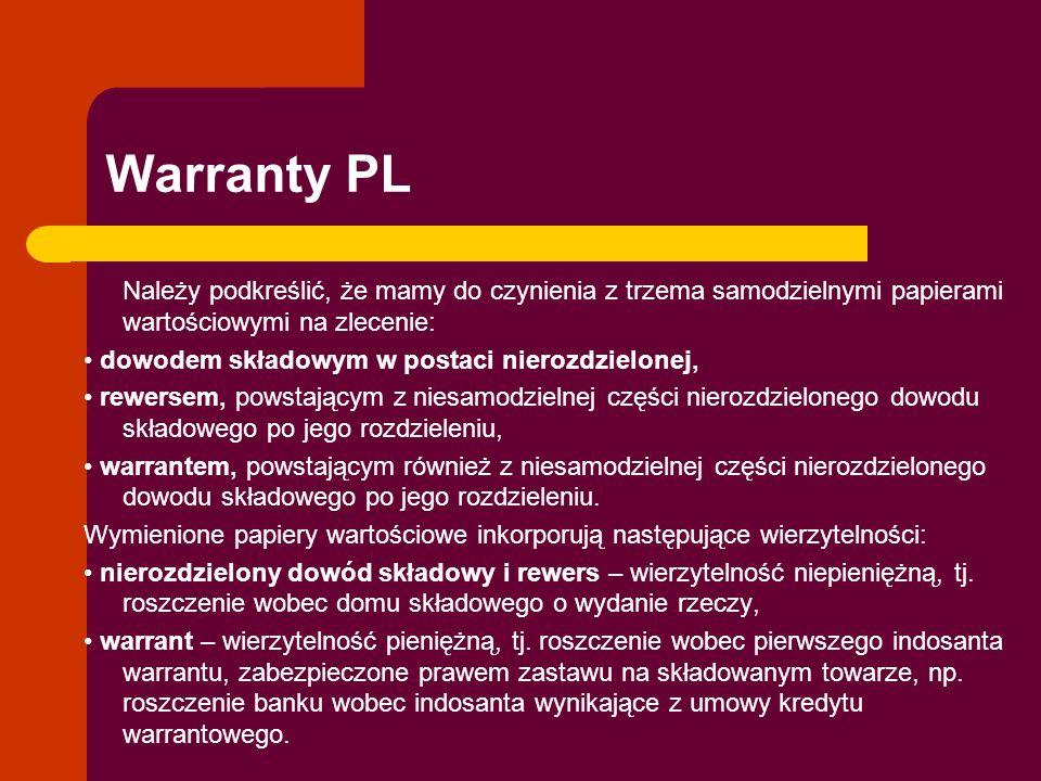Warranty PL Należy podkreślić, że mamy do czynienia z trzema samodzielnymi papierami wartościowymi na zlecenie: dowodem składowym w postaci nierozdzie