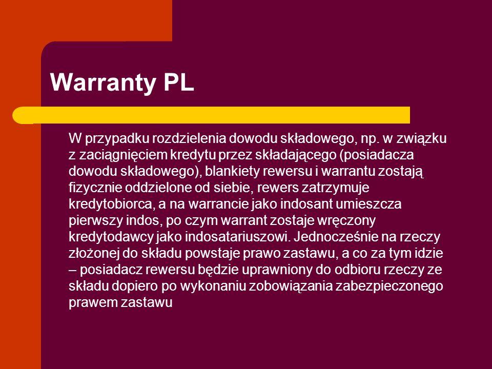 Warranty PL W przypadku rozdzielenia dowodu składowego, np. w związku z zaciągnięciem kredytu przez składającego (posiadacza dowodu składowego), blank