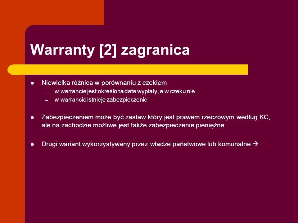 Warranty [2] zagranica Niewielka różnica w porównaniu z czekiem – w warrancie jest określona data wypłaty, a w czeku nie – w warrancie istnieje zabezp