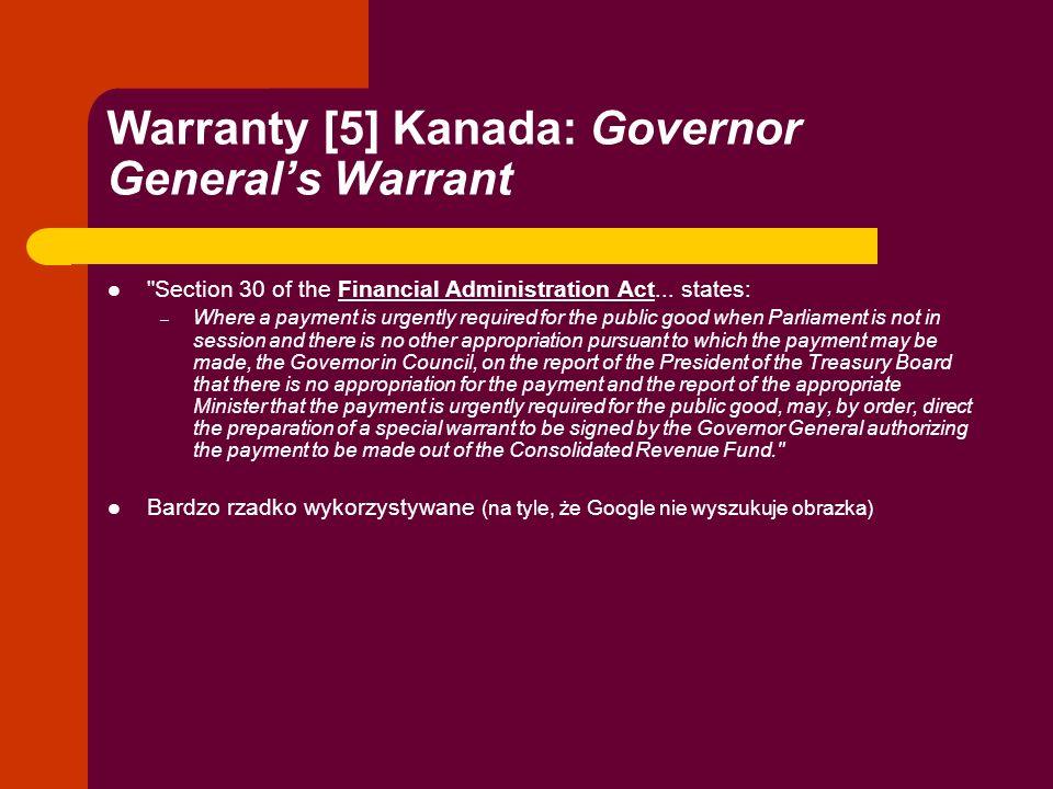Warranty [5] Kanada: Governor Generals Warrant