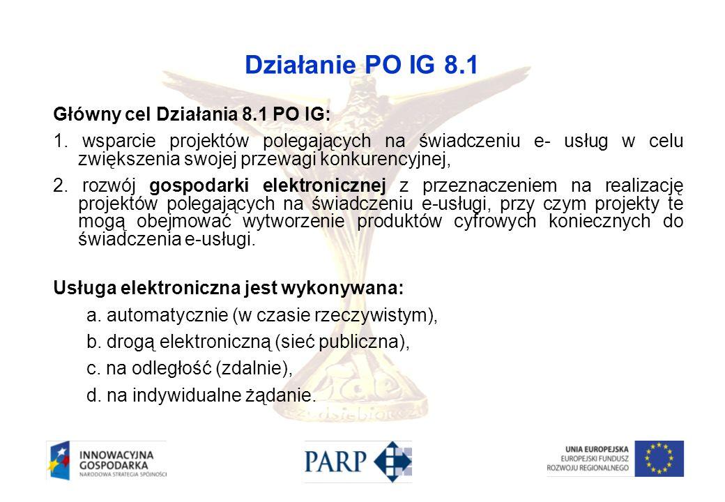Działanie PO IG 8.1 Główny cel Działania 8.1 PO IG: 1. wsparcie projektów polegających na świadczeniu e- usług w celu zwiększenia swojej przewagi konk