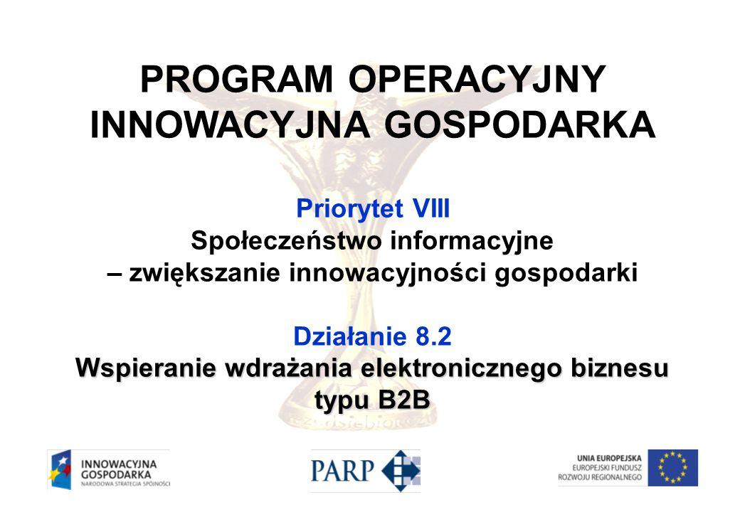 PROGRAM OPERACYJNY INNOWACYJNA GOSPODARKA Priorytet VIII Społeczeństwo informacyjne – zwiększanie innowacyjności gospodarki Działanie 8.2 Wspieranie w