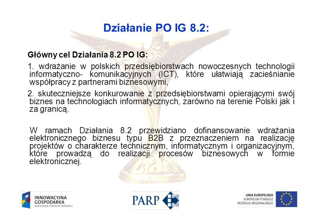 Działanie PO IG 8.2: Główny cel Działania 8.2 PO IG: 1. wdrażanie w polskich przedsiębiorstwach nowoczesnych technologii informatyczno- komunikacyjnyc