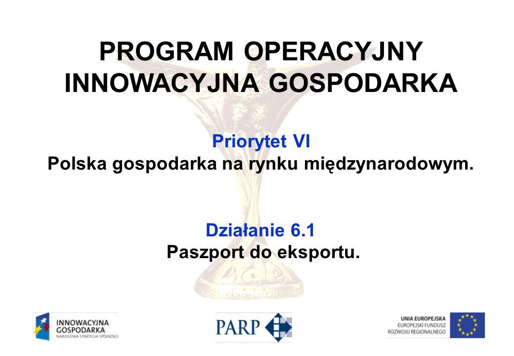 PROGRAM OPERACYJNY INNOWACYJNA GOSPODARKA Priorytet VI Polska gospodarka na rynku międzynarodowym. Działanie 6.1 Paszport do eksportu.