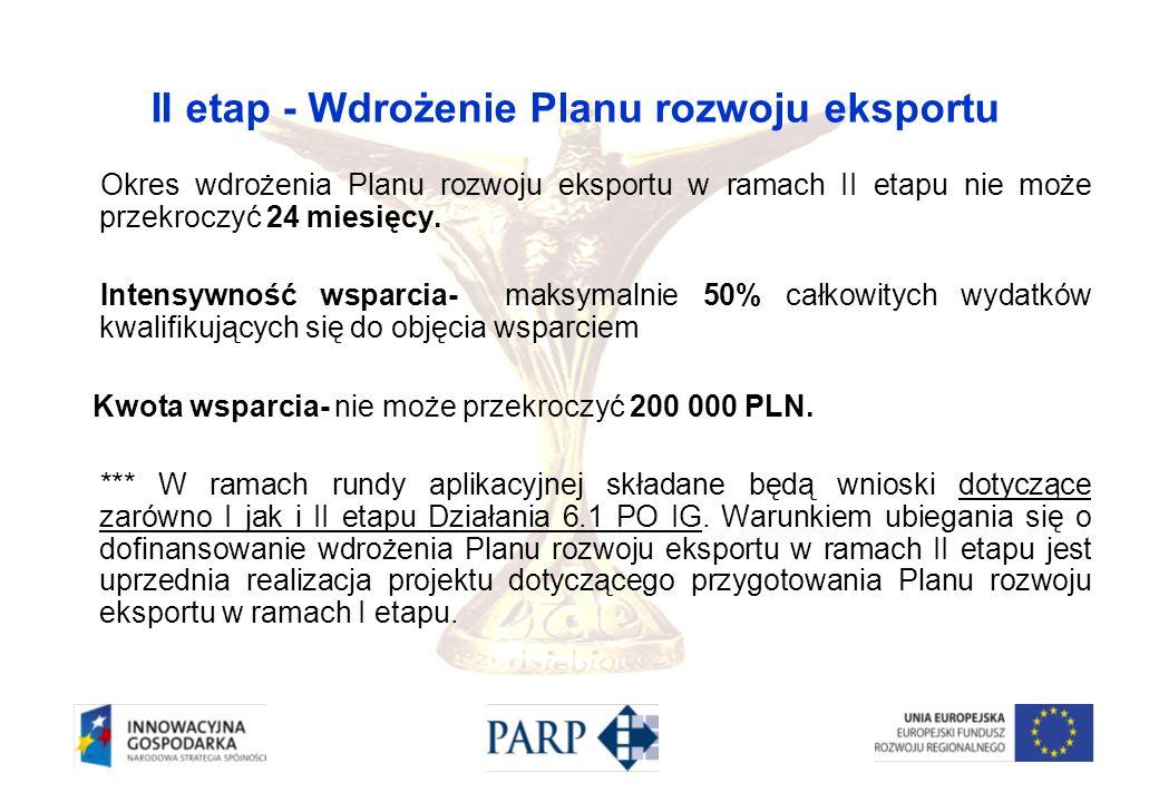 II etap - Wdrożenie Planu rozwoju eksportu Okres wdrożenia Planu rozwoju eksportu w ramach II etapu nie może przekroczyć 24 miesięcy. Intensywność wsp