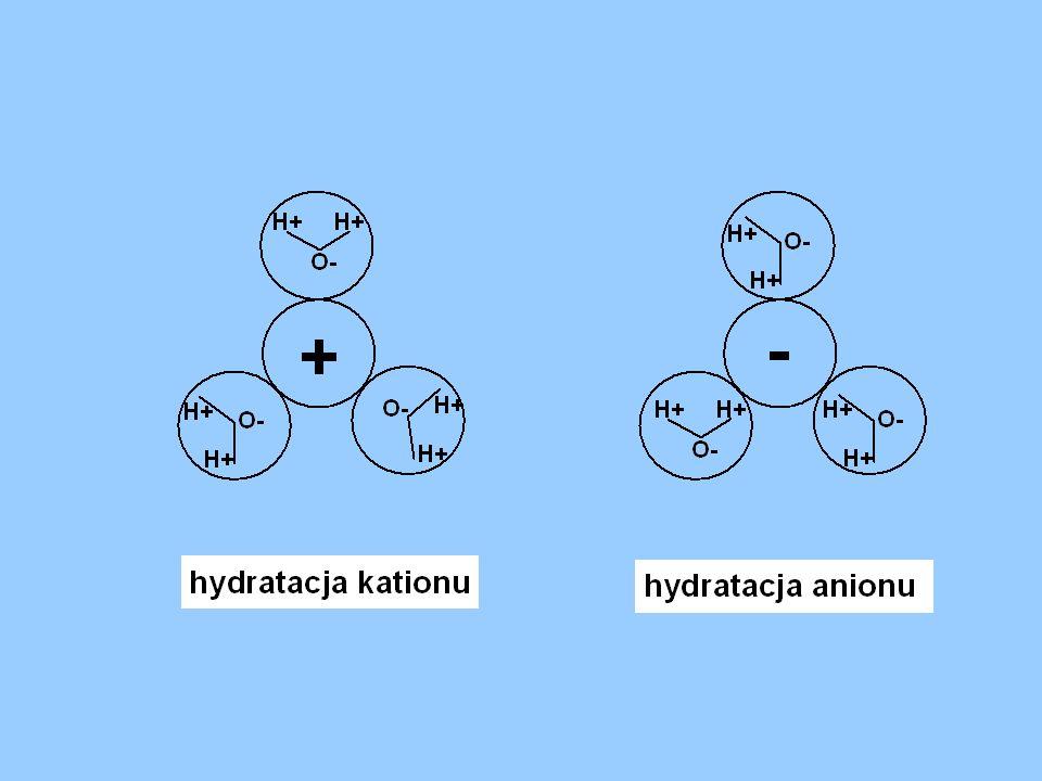 Dysocjacja elektrolityczna Rozpad cząsteczek na jony pod wpływem rozpuszczalnika Kwasy: HCl = H + + Cl - Zasady: NaOH = Na + + OH - Sole: NaCl = Na +