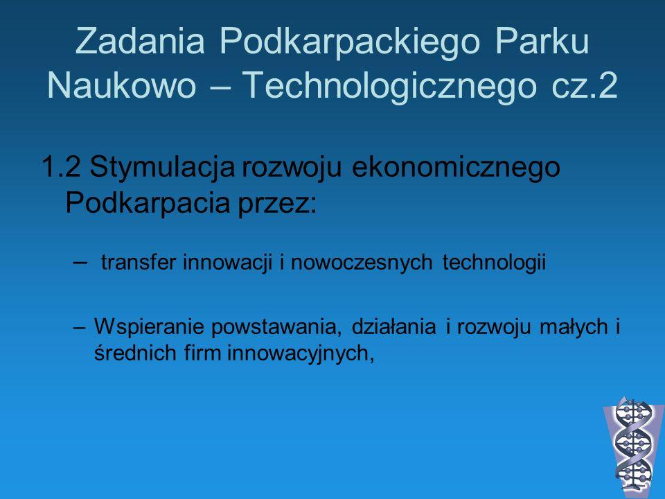 Zadania Podkarpackiego Parku Naukowo – Technologicznego cz.2 1.2 Stymulacja rozwoju ekonomicznego Podkarpacia przez: – transfer innowacji i nowoczesny