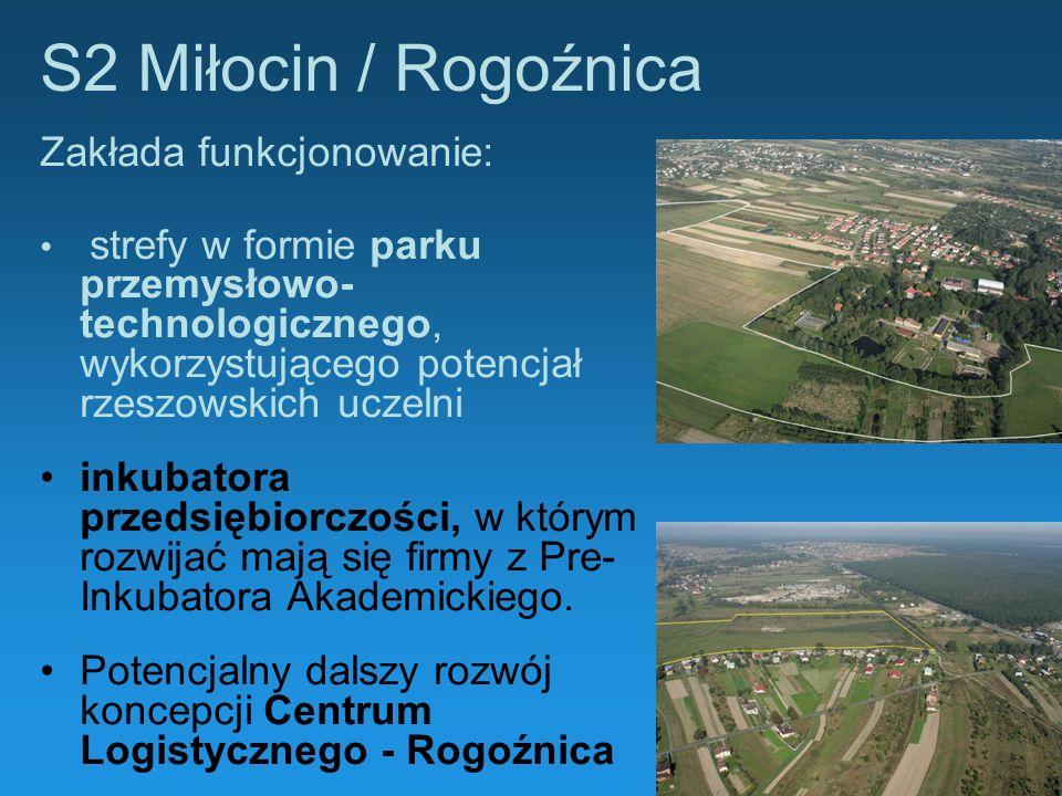 S2 Miłocin / Rogoźnica Zakłada funkcjonowanie: strefy w formie parku przemysłowo- technologicznego, wykorzystującego potencjał rzeszowskich uczelni in