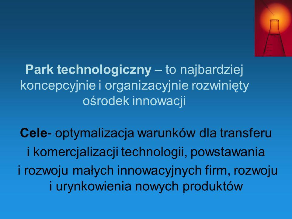 Park technologiczny – to najbardziej koncepcyjnie i organizacyjnie rozwinięty ośrodek innowacji Cele- optymalizacja warunków dla transferu i komercjal