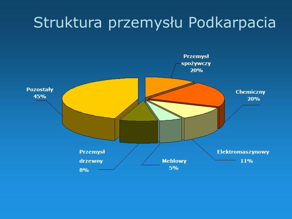 Struktura przemysłu Podkarpacia Przemysł spożywczy 20% Pozostały 45% Chemiczny 20% Elektromaszynowy 11% Przemysł drzewny 8% Meblowy 5%