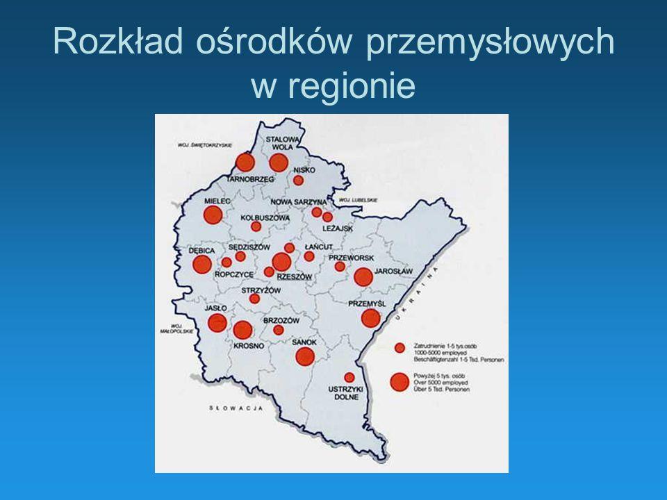 Rozkład ośrodków przemysłowych w regionie