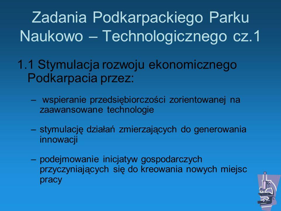 Zadania Podkarpackiego Parku Naukowo – Technologicznego cz.1 1.1 Stymulacja rozwoju ekonomicznego Podkarpacia przez: – wspieranie przedsiębiorczości z