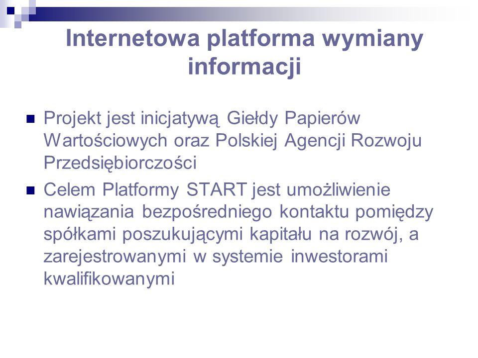 Internetowa platforma wymiany informacji Projekt jest inicjatywą Giełdy Papierów Wartościowych oraz Polskiej Agencji Rozwoju Przedsiębiorczości Celem