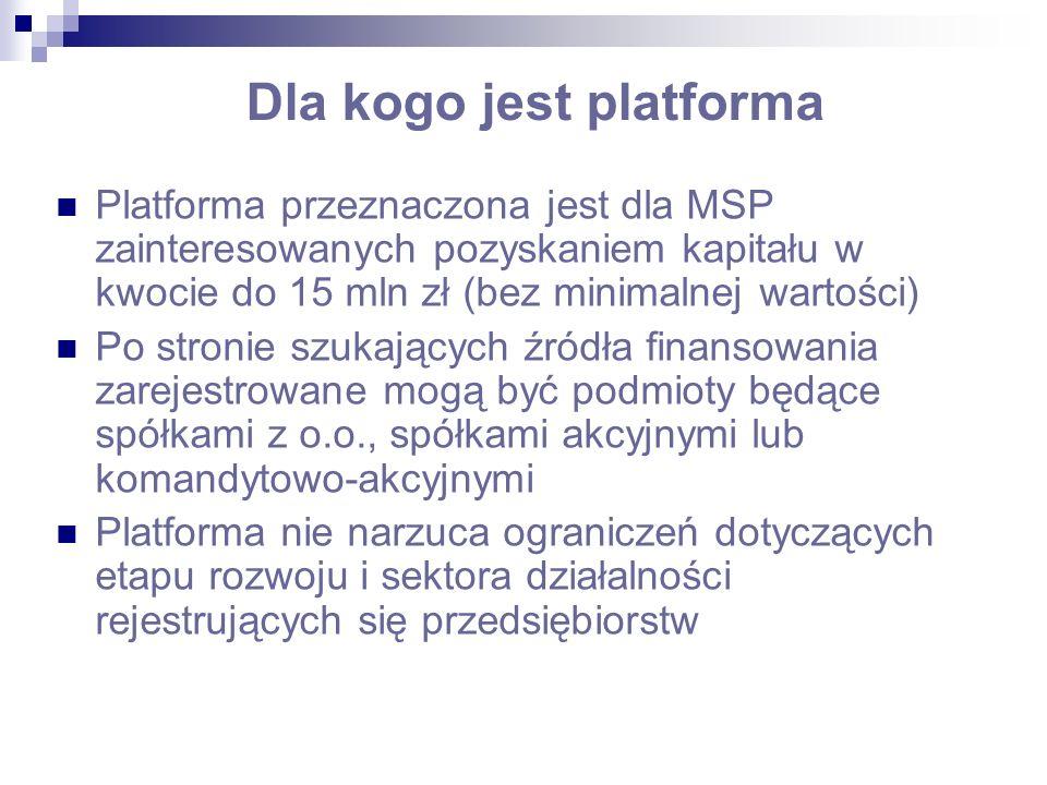 Dla kogo jest platforma Platforma przeznaczona jest dla MSP zainteresowanych pozyskaniem kapitału w kwocie do 15 mln zł (bez minimalnej wartości) Po s