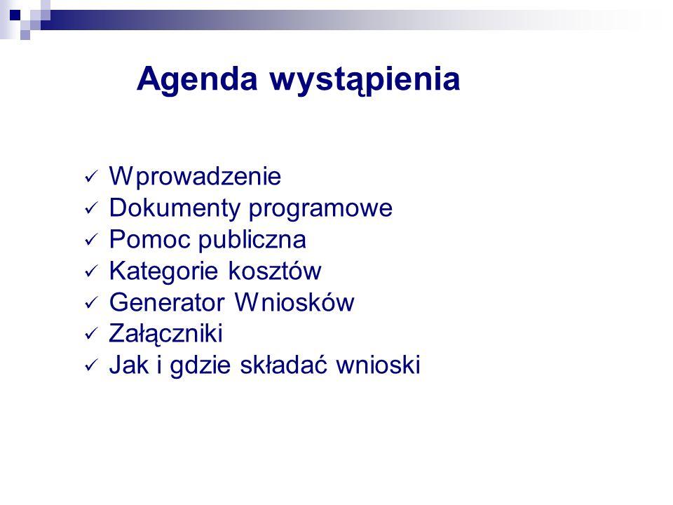 Agenda wystąpienia Wprowadzenie Dokumenty programowe Pomoc publiczna Kategorie kosztów Generator Wniosków Załączniki Jak i gdzie składać wnioski