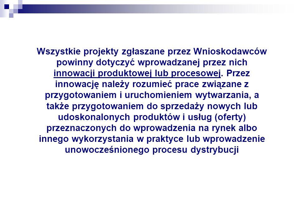Wszystkie projekty zgłaszane przez Wnioskodawców powinny dotyczyć wprowadzanej przez nich innowacji produktowej lub procesowej.