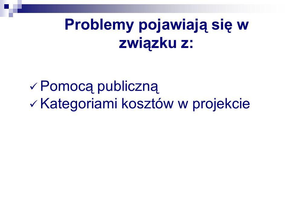 Problemy pojawiają się w związku z: Pomocą publiczną Kategoriami kosztów w projekcie