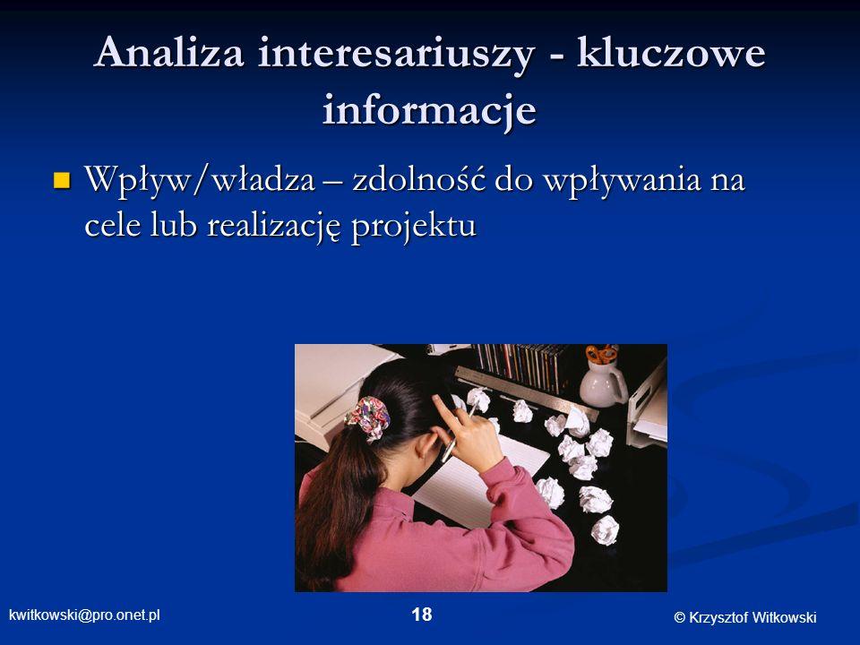 kwitkowski@pro.onet.pl © Krzysztof Witkowski 18 Analiza interesariuszy - kluczowe informacje Wpływ/władza – zdolność do wpływania na cele lub realizac
