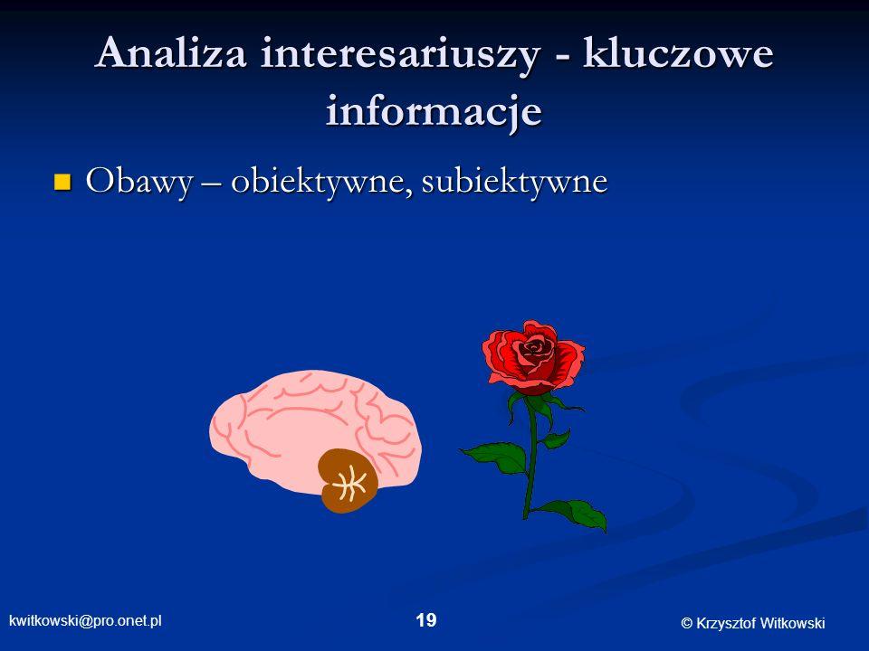 kwitkowski@pro.onet.pl © Krzysztof Witkowski 19 Analiza interesariuszy - kluczowe informacje Obawy – obiektywne, subiektywne Obawy – obiektywne, subie