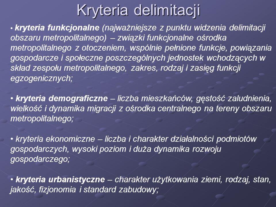 Kryteria delimitacji kryteria funkcjonalne (najważniejsze z punktu widzenia delimitacji obszaru metropolitalnego) – związki funkcjonalne ośrodka metro