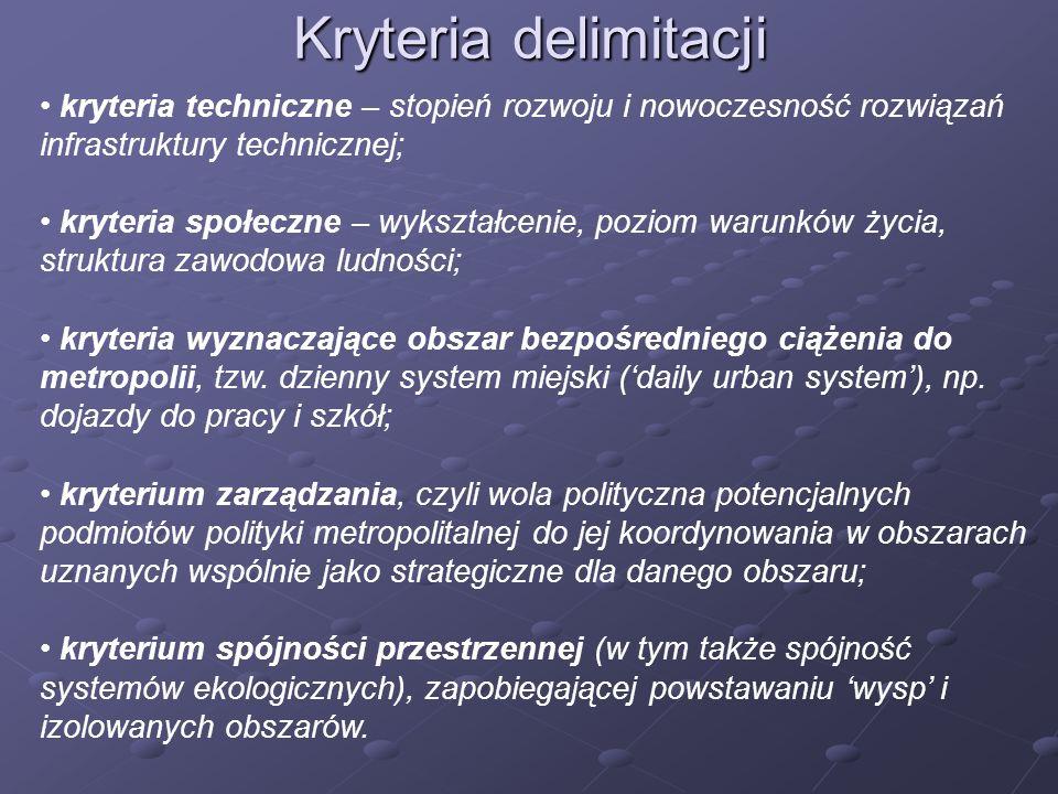 Kryteria delimitacji kryteria techniczne – stopień rozwoju i nowoczesność rozwiązań infrastruktury technicznej; kryteria społeczne – wykształcenie, po