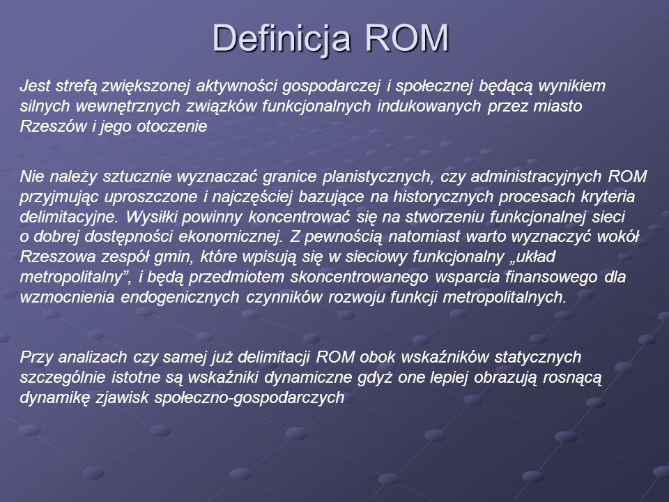 Definicja ROM Jest strefą zwiększonej aktywności gospodarczej i społecznej będącą wynikiem silnych wewnętrznych związków funkcjonalnych indukowanych p
