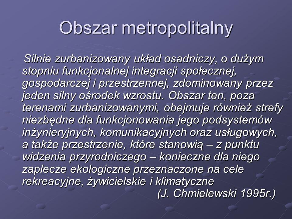 Obszar metropolitalny Silnie zurbanizowany układ osadniczy, o dużym stopniu funkcjonalnej integracji społecznej, gospodarczej i przestrzennej, zdomino