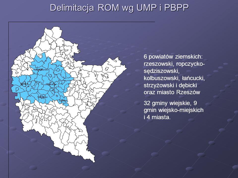 Delimitacja ROM wg UMP i PBPP 6 powiatów ziemskich: rzeszowski, ropczycko- sędziszowski, kolbuszowski, łańcucki, strzyżowski i dębicki oraz miasto Rze