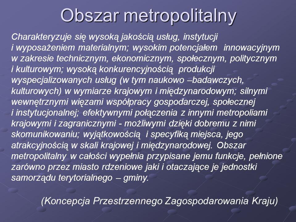 Obszar metropolitalny Charakteryzuje się wysoką jakością usług, instytucji i wyposażeniem materialnym; wysokim potencjałem innowacyjnym w zakresie tec
