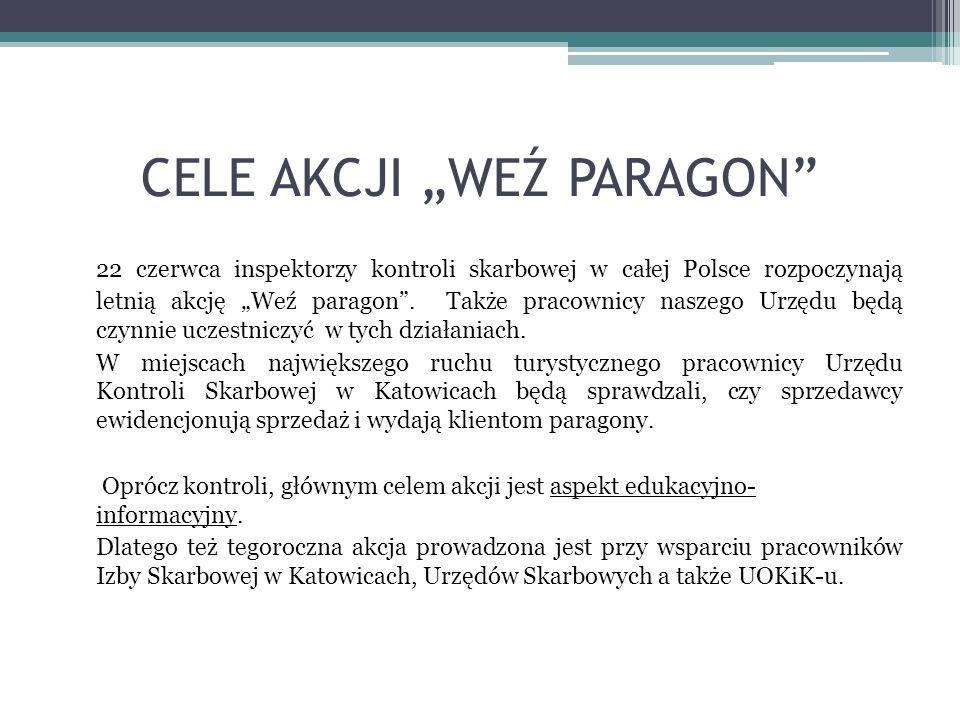 CELE AKCJI WEŹ PARAGON 22 czerwca inspektorzy kontroli skarbowej w całej Polsce rozpoczynają letnią akcję Weź paragon. Także pracownicy naszego Urzędu