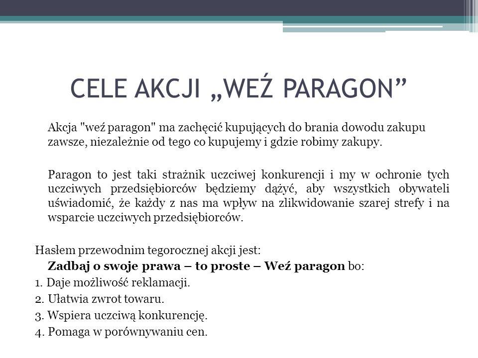 PODSUMOWANIE Tegoroczna akcja Weź paragon ma charakter edukacyjno-prewencyjny.