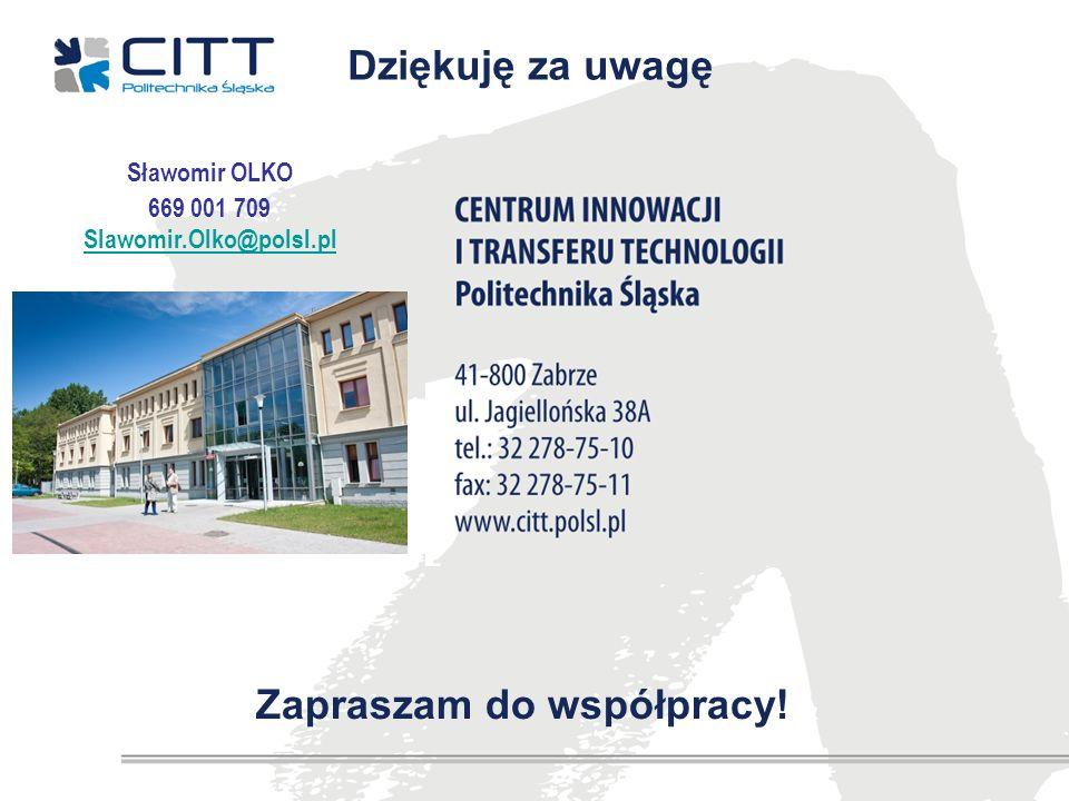 Zapraszam do współpracy! Dziękuję za uwagę Sławomir OLKO 669 001 709 Slawomir.Olko@polsl.pl