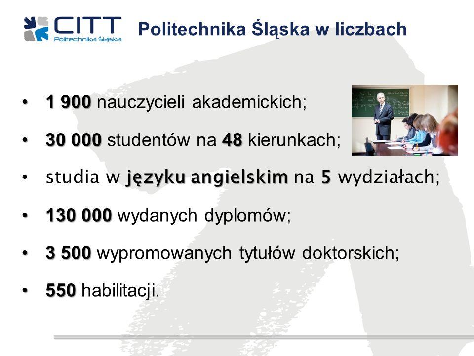 1 9001 900 nauczycieli akademickich; 30 000 4830 000 studentów na 48 kierunkach; języku angielskim 5 studia w języku angielskim na 5 wydziałach; 130 0