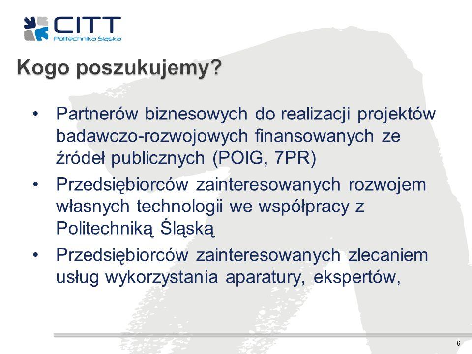 Partnerów biznesowych do realizacji projektów badawczo-rozwojowych finansowanych ze źródeł publicznych (POIG, 7PR) Przedsiębiorców zainteresowanych ro