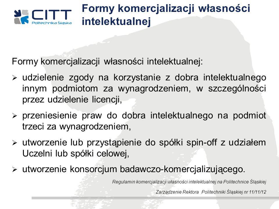 Formy komercjalizacji własności intelektualnej Formy komercjalizacji własności intelektualnej: udzielenie zgody na korzystanie z dobra intelektualnego