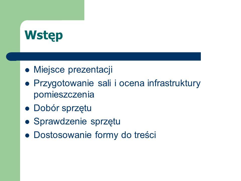 Wstęp Miejsce prezentacji Przygotowanie sali i ocena infrastruktury pomieszczenia Dobór sprzętu Sprawdzenie sprzętu Dostosowanie formy do treści